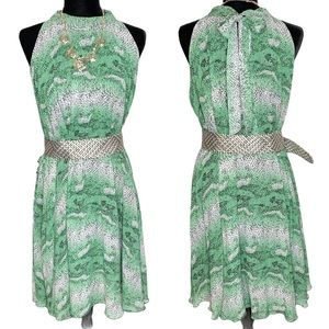 Blooming Rose Green Print Halter Midi Dress 18